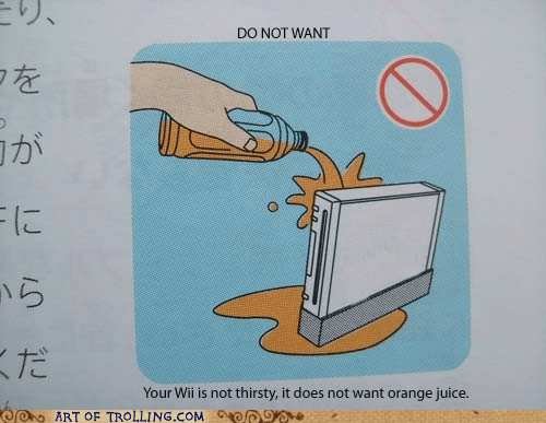 instructions,orange juice,wii