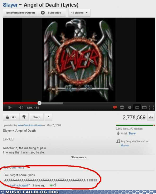 comment lyrics metal slayer youtube youtube comment - 6319570176