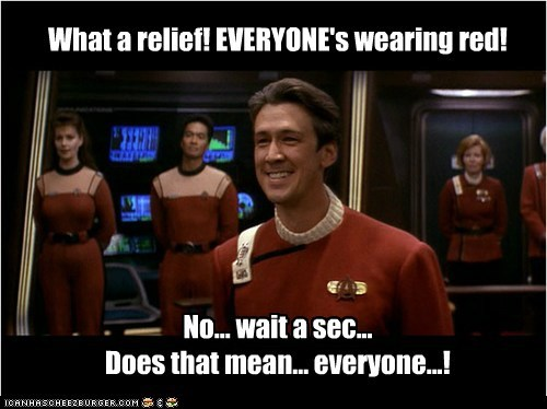 What a relief! EVERYONE's wearing red! No... wait a sec... Does that mean... everyone...!