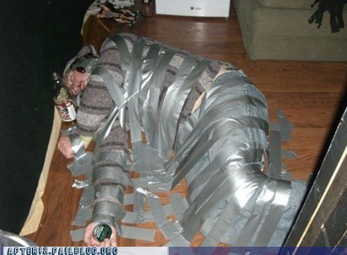 blackout,drunk,duct tape,passed out,wasted