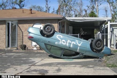 car,driveway,flipped,sorry,spray paint