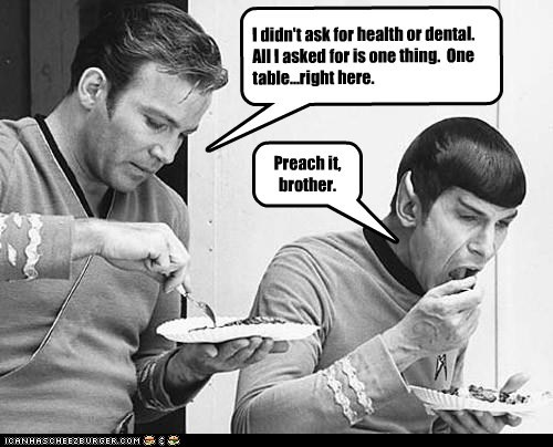 brother,budget,Captain Kirk,eating,Leonard Nimoy,plates,preach,Shatnerday,Spock,Star Trek,table,William Shatner