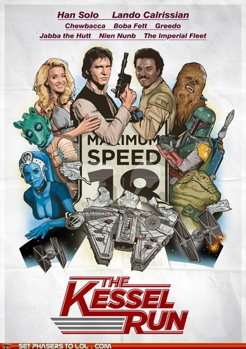 boba fett chewbacca Fan Art greedo Han Solo jabba the hutt kessel run Lando Calrissian poster star wars - 6320771328