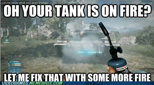 battlefield,fire,logic,meme,tank,the internets