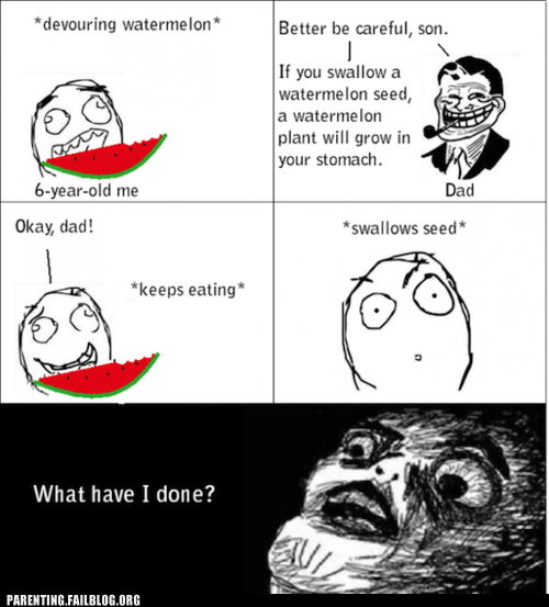 Rage Comics,swallowing seeds,watermelon