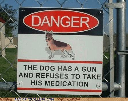 danger dogs gun IRL Memes sign - 6321129472