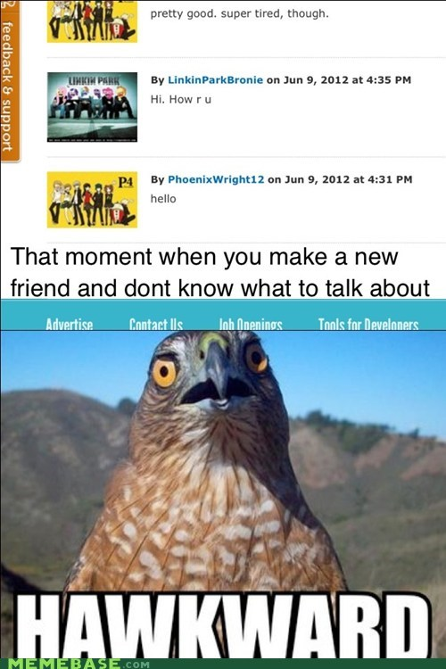 Awkward cheezburger friends hawkward Memes meta talk - 6321172224