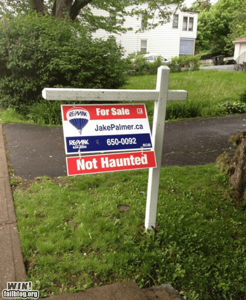 g rated,haunted,house,real estate,sign,win