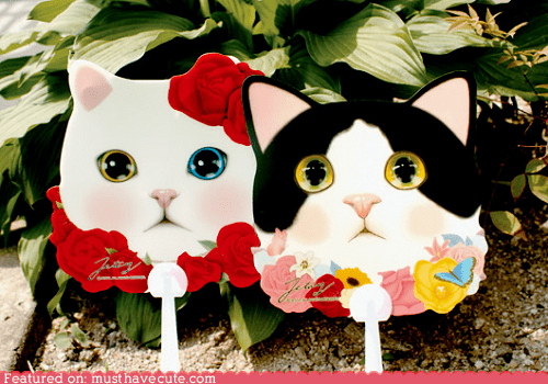 cat face fan flowers hand fan - 6321245696