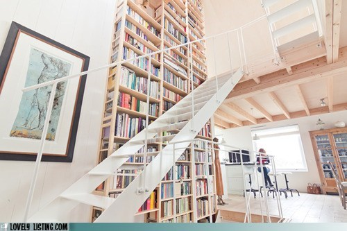bookcase high ladder stairs tall