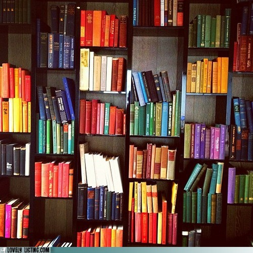 best of the week,bookcase,books,color,organized,shelves