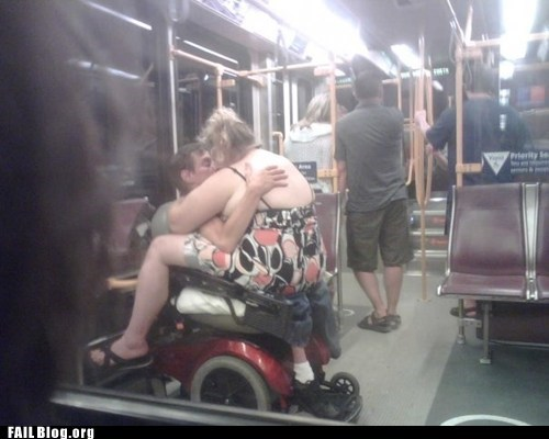Hall of Fame KISS kissing Subway wheelchair