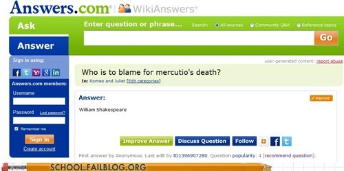 correct g rated Mercutio not not wrong romeo and juliet School of FAIL shakespeare - 6321546240