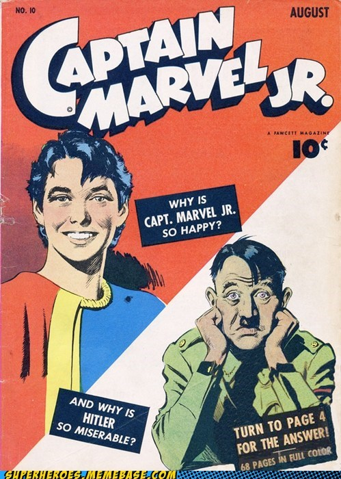 answers,captain marvel,hitler,page 4,Straight off the,Straight off the Page,wtf