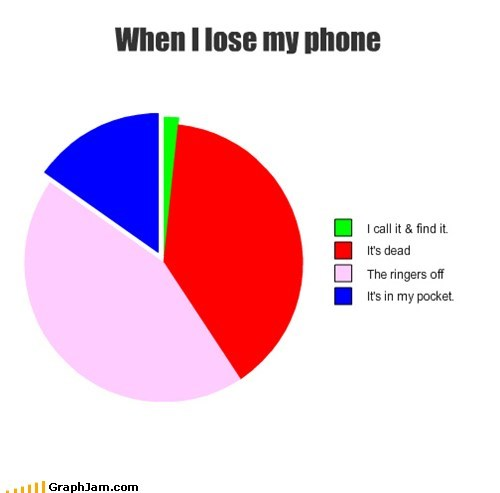 lost,phones,Pie Chart,pocket,Ringer