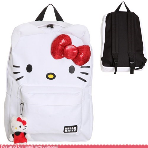 backpack,bow,hello kitty,sparkly,white
