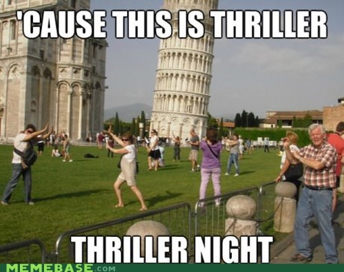 fear,leaning tower of pisa,Memes,scary,thriller,tourists,zombie