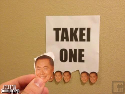 celeb,free stuff,george takei,nerdgasm,Star Trek,take one