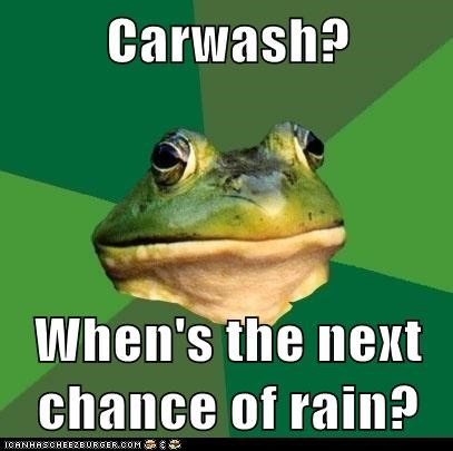 Carwash? When's the next chance of rain?