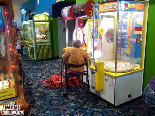 arcade,grandma,old people rock,redemption,tickets