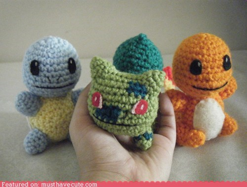 Amigurumi,best of the week,bulbasaur,charmander,Crocheted,Pokémon,squirtle