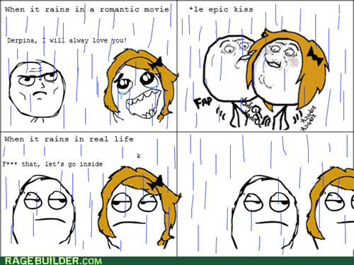 kisses,love,Rage Comics,rain,relationships