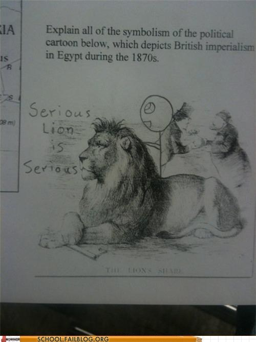 British imperialism,serious lion,symbolism,test humor