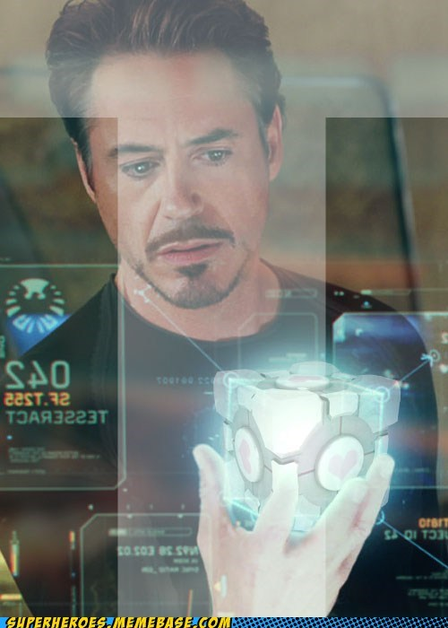 Awesome Art,companion cube,ironman,Portal,tony stark