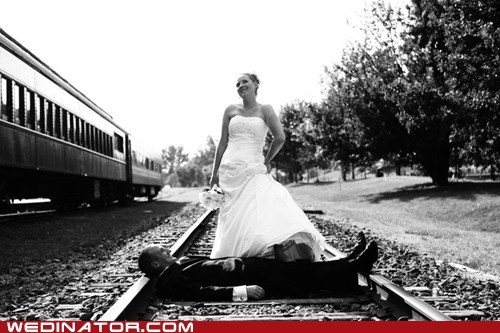 train tracks,bride,dominating