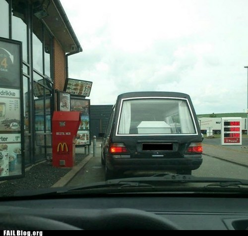 coffin,drive thru,fail nation,funeral,g rated,McDonald's
