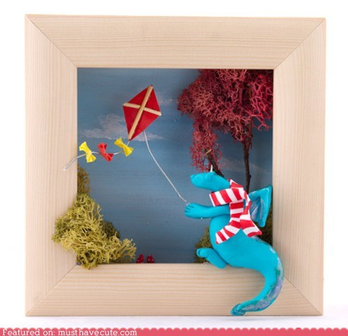 diorama dragon fall kite lichen tree