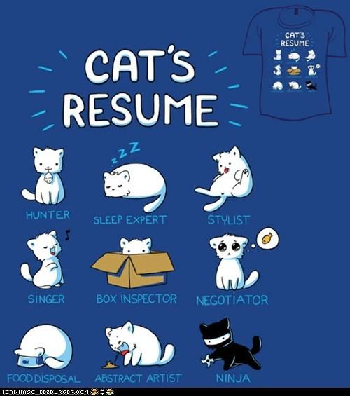 Cats food illustrations ninjas resume shirts sleeping t shirts - 6324214784