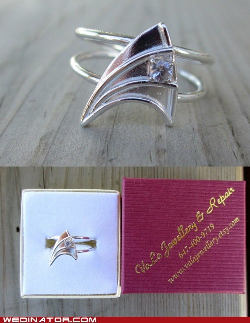 engagement rings,funny wedding photos,geek,Star Trek,wedding rings