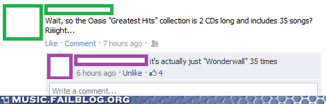 facebook,greatest hits,oasis,wonderwall