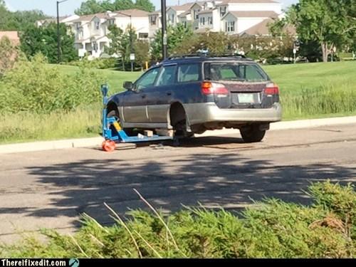 broken down carjack forklift jack lift subaru - 6324609024