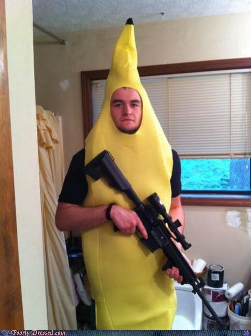 banana costume gun weird what