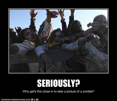 SERIOUSLY? Who get's this close in to take a picture of a zombie?