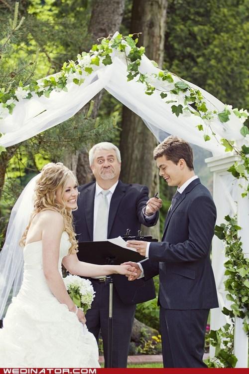 bride funny wedding photos groom laugh minister - 6326701312