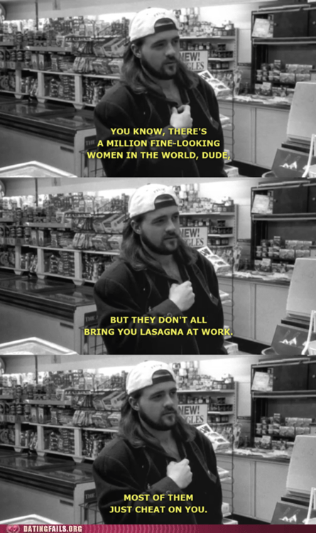 cheating,clerks,kevin smith,lasagna