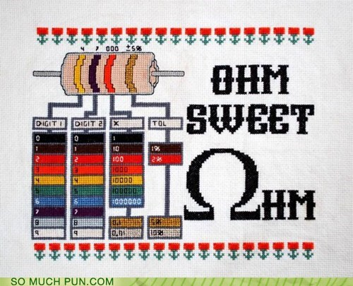 embroidery,home sweet home,literalism,ohm,similar sounding,sweet