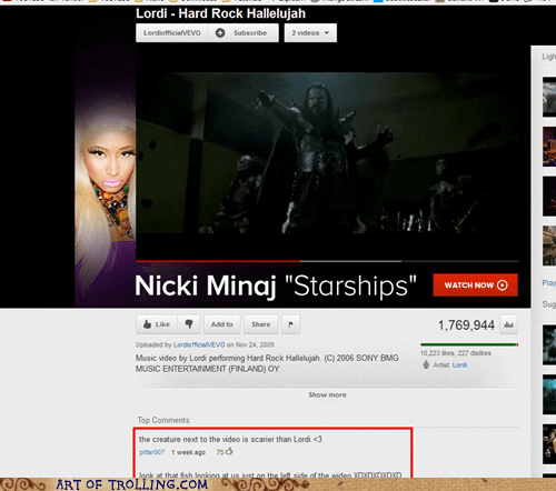 Lordi,nicki minaj,scary,side ad,youtube