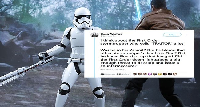 a cover photo of the two star wars the force awakens charaters, finn and tr-8r fighting