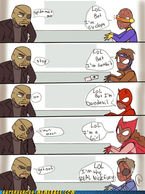 avengers,Awesome Art,comic,Nick Fury,Spider-Man
