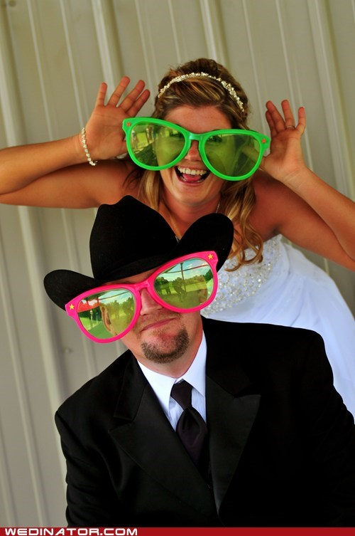 bride,cowboy hat,funny wedding photos,groom,shades,sunglasses
