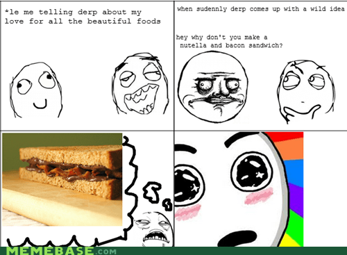bacon,nutella,Rage Comics,sandwich