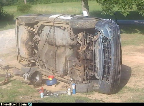 car,car flipped over,car repair,flipped over,pickup,transmission,truck,truck repair