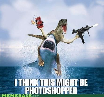 dinosaur Memes photoshop pixels Raptor shark - 6328390144