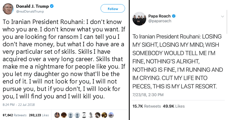 Funny memes about Presiddent Trump tweet to Iranian president Rouhani.