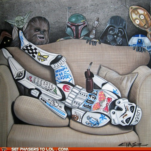 boba fett,c3p0,chewbacca,college,darth vader,drunk,Fan Art,frat boys,fraternities,laughing,passed out,r2d2,star wars,stormtrooper,writing,yoda
