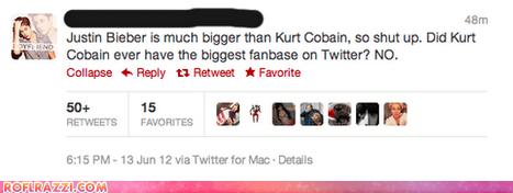 celeb,funny,justin bieber,kurt cobain,Music,tweet,twitter